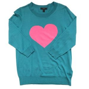J. Crew Pink Heart Teal Sweater